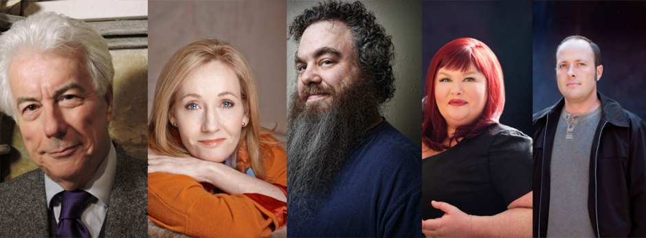 Ken Follett, J.K. Rowling, Patrick Rothfuss, Cassandra Clare e Jay Asher