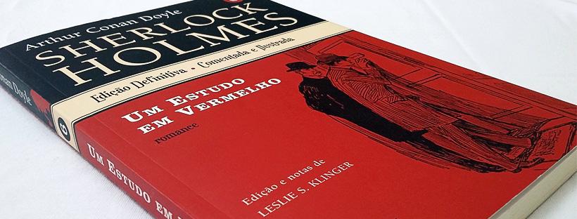 Capa do livro Um estudo em vermelho, de Arthur Conan Doyle