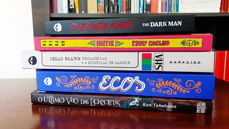 Livros The Dark Man, Hippie, VHS, Ecos e O último voo das borboletas.
