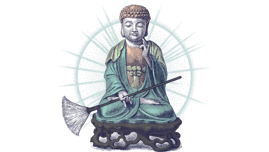 Ilustração da capa do livro Manual de limpeza de um monge budista,