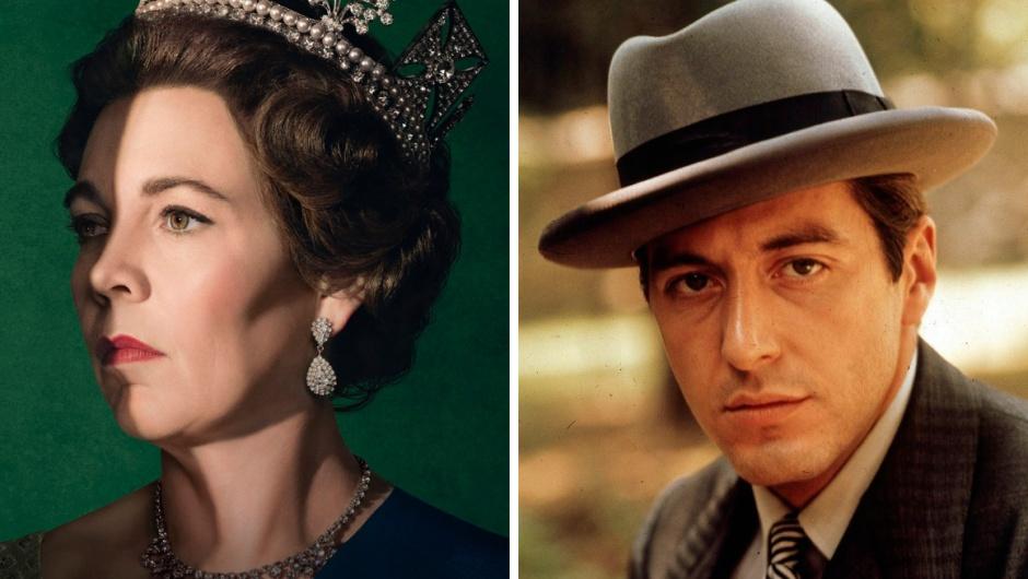 Rainha Elizabeth (The Crown) e Michael Corleone (O Poderoso Chefão)