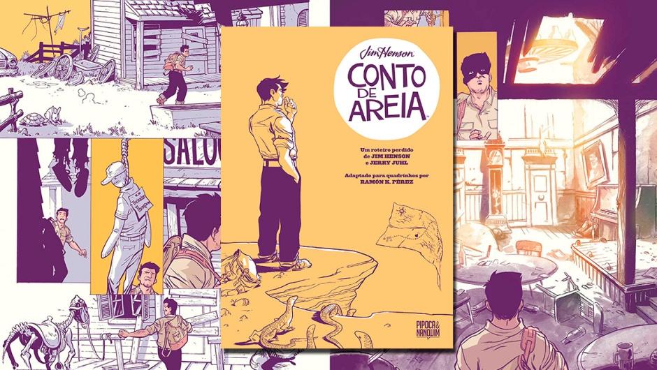 Capa da resenha da graphic novel Conto de Areia.